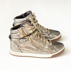 Michael Kors Gold Studded Glam Bling High Tops 7.5